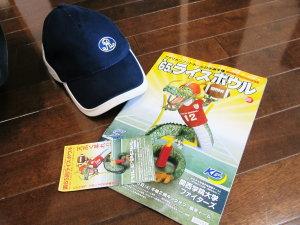 第65回アメリカンフットボール日本選手権・ライスボウル  ゲームプログラムとドレスデン・モナークスのキャップ